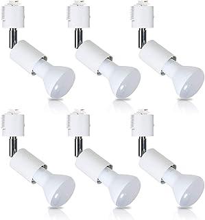 ダクトレール用スポットライト E26 60W形相当 BR20 LED電球付き レフランプ型 ライティングバー用器具セット ライティングレール 天井照明 2個セット (昼光色 6個セット)