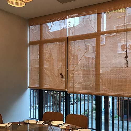Bamboo Roller Blind Carbonized Color Lifting, Outdoor Blackout Natural Ventilation Blinds Privacy Light Filtering…