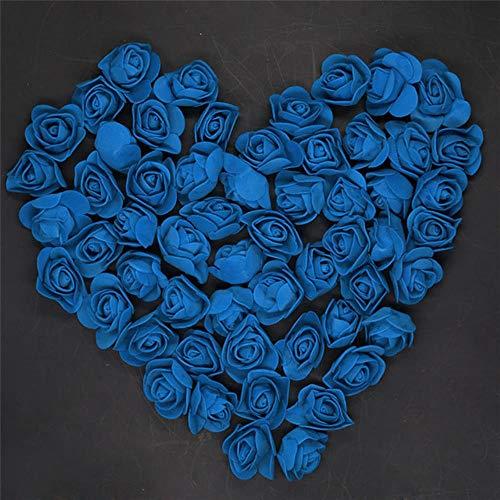50 stuks 100 stuks 200 stuks goedkope mini mintgroen pe schuim rozen hoofd nep bloem handgemaakte bruiloft decoratie, donkerblauw, 50 stuks