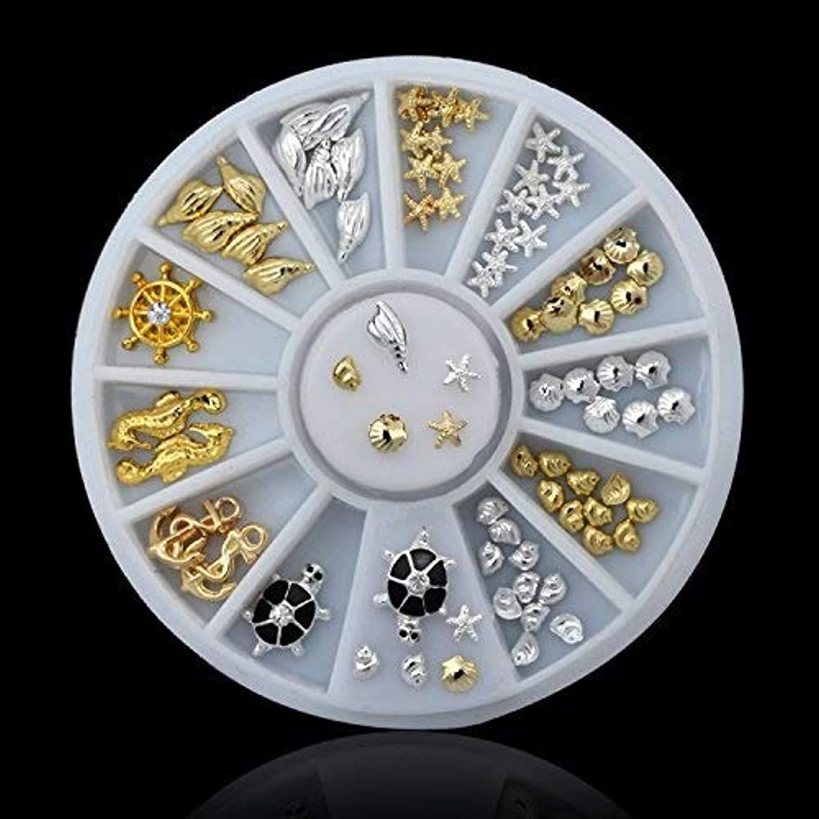 魔術価値不潔HAPPY HOME シェルヒトデシーデザインゴールドシルバー合金3dネイルアートラインストーンデコレーションホイールdiyジュエリーツール