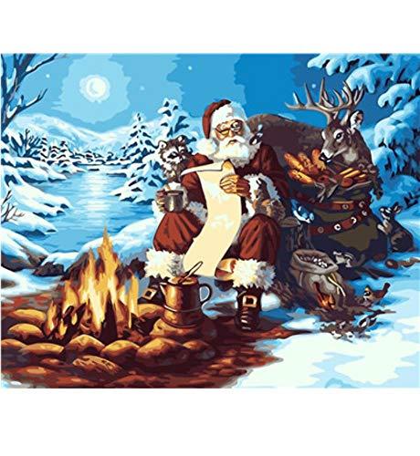 Ölgemälde Weihnachtsbild DIY Gemälde nach Zahlen Moderne Wandkunst Bild Acrylfarbe nach Zahlen Weihnachtsmann 24X31Zoll (60X80cm)