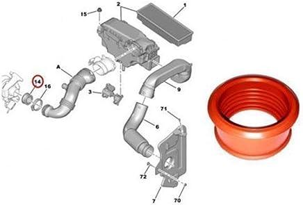 Turbo Tubo de Aire Manguito para Peugeot 206 207 307 308 407 1.6 HDI Socio DE