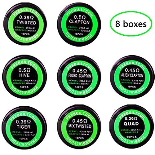 Vorkompilierte Coil Kit, Heizung Coils Wicklungen Coil Set, Alien 0.45Ω, Tiger 0.36Ω, Bienenstock 0.5Ω, Quad 0.36Ω, Mix Twisted 0.45Ω, Verschweißter Clapton 0.45Ω, Clapton 0.8 Ω, Verdreht 0.36Ω