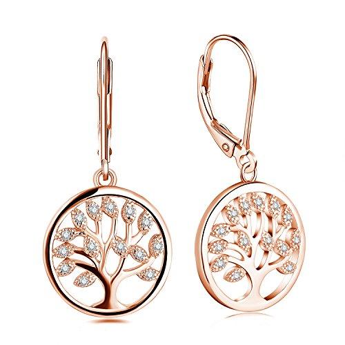 JO WISDOM Ohrringe hängend Baum des Lebens Silber 925 Damen mit AAA Zirkonia mit Rose vergoldet