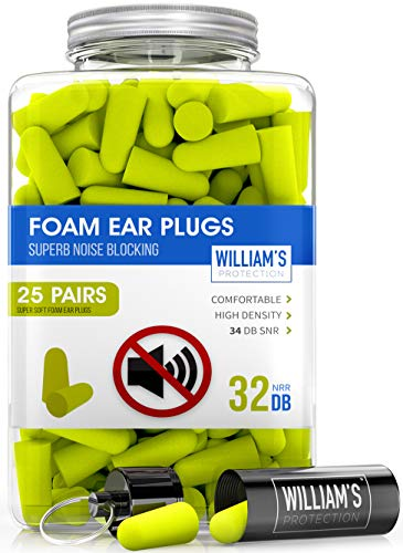 Soft Foam Ear Plugs – 25 Pairs  Noise Cancelling Earplugs 32 dB NRRfor Noise Reduction Hearing Protection Aluminum Carry Case  for Sleeping Travel Concerts Shooting Study Work