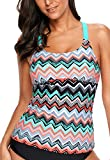 Aleumdr Womens Strappy Racerback Striped Color Block Printed Padded Tankini Tops Padded Swimsuits Sporty Bathing Suits Rose Swimwear L 12 14