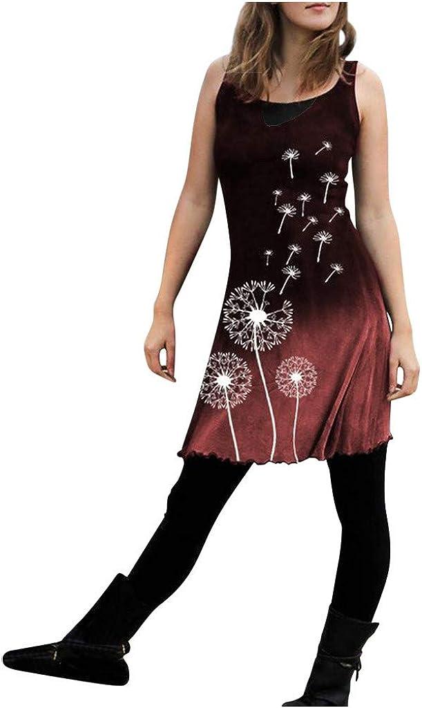 Summer Dresses for Women Sleeveless Retro Tribal Tribal Print Slim Dress Tops