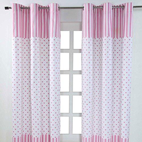 Homescapes Kindervorhang Mädchen Kinderzimmer Ösenvorhang Dekoschal Hearts 2er Set pink weiß 117 x 137 cm (Breite x Länge je Vorhang) 100% Reine Baumwolle