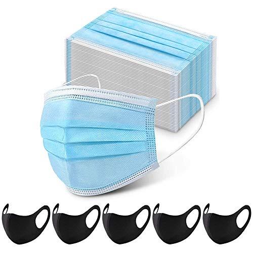 100 STK Mundschutz Maske Schutzmaske + 5 Mund und Nasenschutz Waschbar Staubschutzmaske Wiederverwendbar Atmungsaktiv Mundschutz Winddicht Unisex Halstuch