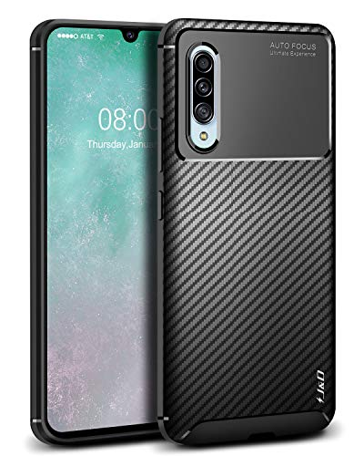 J&D Compatible para Samsung Galaxy A90 5G Funda/Galaxy A90S Funda, [Fibra Carbono] [Parachoques Ligero] [Protección contra Caídas] Resistente Funda TPU Protectora e Anti-Scratch Blando Funda - Negro