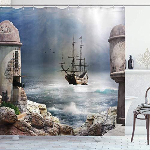 Alvaradod Segelboot-Duschvorhang,Piratenhändler in der Bucht von Fortbandoned Rockst Shore,Schiffsdekor aus Stoffgewebe,blau-grau mit 12 Kunststoffhaken 180x180 cm