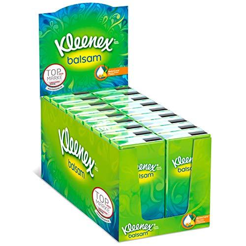 Kleenex Balsam Taschentücher, 4-lagig, ideal bei Erkältungen und Allergien, 18 Packungen à 9 Tücher, Theken-Display