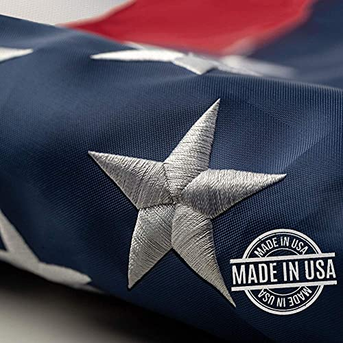 This 3x5 ft outdoor embroidered American flag is the most durable,100% American-made, luxury embroidered star with brightly colored brass Grommets