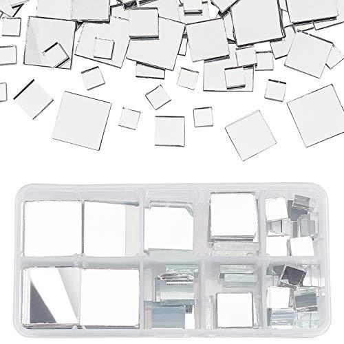 PandaHall 119 piezas de azulejos cuadrados de cristal para decoración del hogar, manualidades, joyería, transparente (4 tamaños)