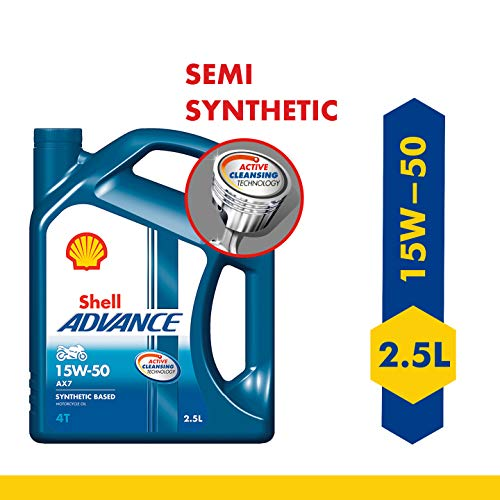 Shell Advance AX7 15W-50 API SM Semi Synthetic Engine Oil (2.5 L)