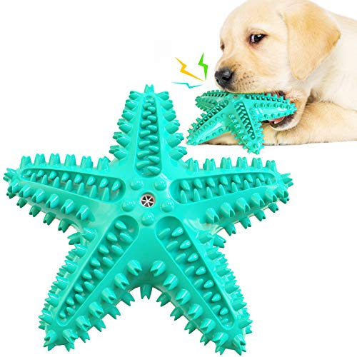 Hiidocat Starfish Dog Toothbrush Chew Toy Squeaky Chew Toy Pet Toys,Interactive Molar Puppies Toys, Starfish Dog Toys IQ Training Protective Furniture Human Pet Interaction Toy Starfish TPR Dog Toys