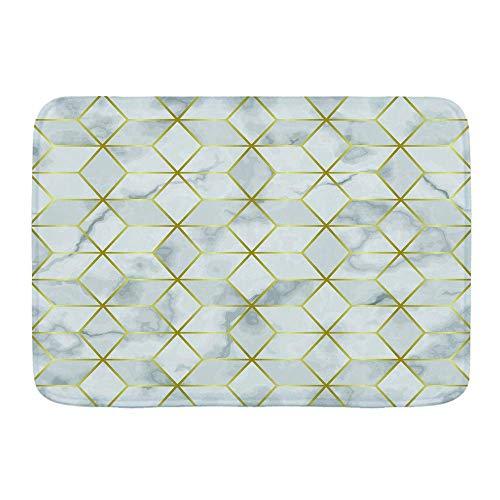 N\A Alfombra de baño, Lujosa baldosa de Mosaico de mármol con patrón sin Costuras, alfombras de Felpa para decoración de baño con Respaldo Antideslizante
