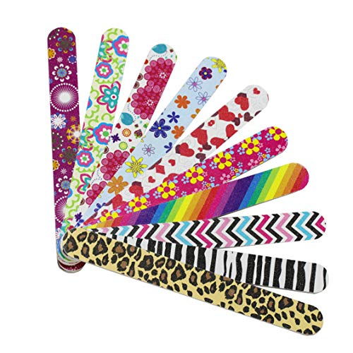 Hbsite Nail Files 10 PCS Manicura profesional Lima de uñas de doble cara Lavable Emery Board Herramienta de pedicura colorida 180