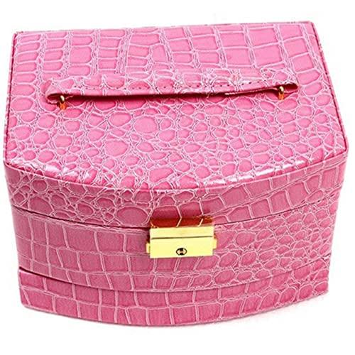 ZYYXB Caja organizadora de joyería para mujer, caja de almacenamiento de joyas, caja de almacenamiento de múltiples capas, portátil, caja de reloj, compartimentos para exhibición, color rosa