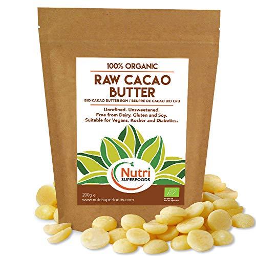 NEUSTART - ROHE Bio-Kakaobutter tropfen - Unraffinierte und Ungesüßte Waffeln / Knöpfe - 500g
