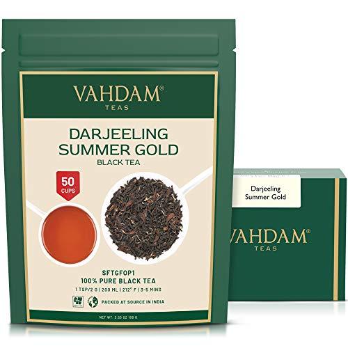 VAHDAM, Oro de Verano Darjeeling Segunda descarga (50 Copas)   TÉ DARJEELING FUERTE Y ROBUSTO Hoja suelta   Hojas sueltas de té negro 100% puro no reforzado   100gr