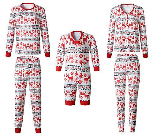 Pijamas Navidad Familia Conjunto Pantalon y Top Fiesta Manga Larga Trajes Navideños Pijama Dos Piezas Mujer Hombre Niños Niña Ropa de Dormir para Bebés Mamá Papá Romper Homewear Sleepsuit - Landove