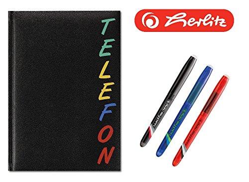 Herlitz 22376 Adressbuch A5 Rainbow, wattierter Einband, schwarz, mit 24-teiligem Register, A-Z Telefonbuch | Set mit 3 radierbaren Tintenrollern in schwarz, blau und rot