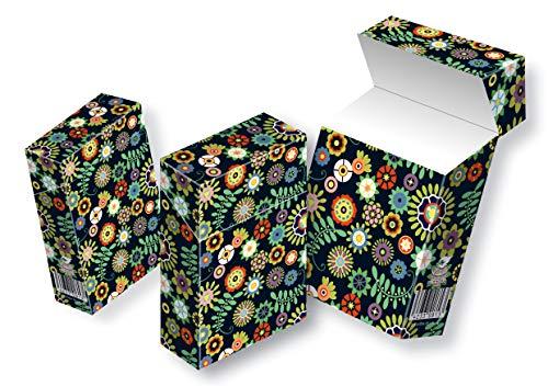 Zigarettenschachtel Cover Überzieher Hülle SLIPP OVERALL Design Retroblumen schwarz Komplettüberzieher mit Deckel (062 Retroblumen schwarz, 3 Stück)