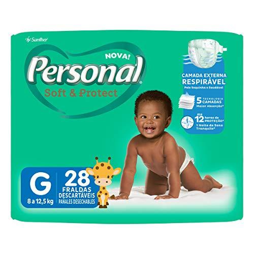 Fralda Descartável Soft and Protect Jumbo, Personal, Branco, Grande, 28 unidades (Embalagem pode variar)
