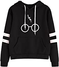 Tomsweet Womens Autumnn Fashion Long Sleeve Pullover Harry Potter Glasses Prints Hoodies Hooded Sweatshirt Sweater Tops