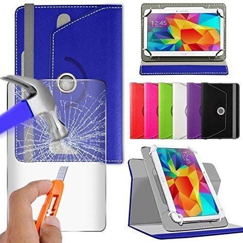 N4U Online® Verschiedene Farbige Glas & Rotierend PU Leder für Irulu Expro X1S Tablet - Blau