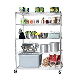 Seville Classics MEGA RACK UltraDurable Commercial-Grade 5-Tier NSF-Certified Steel Wire Shelving with Wheels, 60' W x 24' D, Chrome
