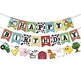 WERNNSAI Pancartas de Cumpleaños de Animales de Granja - Happy Birthday Banderas con Guirnalda de Empavesado de Corral de Tractor para Niños Niñas Suministros de Decoraciones para Fiestas