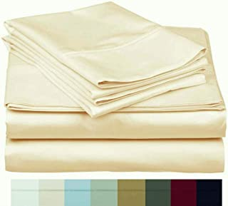 The Bishop Cotton 100% Egyptian Cotton 800 Thread Count 4 PC Solid Pattern Bed Sheet Set Italian Finish True Luxury Hotel Collection Fits Up to 16 Inches Deep Pocket (King, Ivory).