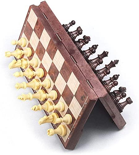 Juego de tablero de ajedrez 31X31X2Cm Juego de ajedrez de viaje plegable magnético 2 en 1 Chess Checkers International Chess Juego de mesa portátil Juego de juguete para fiestas infantiles Actividades