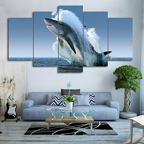 5 Piezas De Lienzo Gran Tiburón Blanco Saltando 5 Piezas Abstracto Arte De La Pared Lienzo Moderno Impresión Pinturas Casa Decoraciones