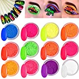 Kalolary 12 Colors Fluorescent powder Pigment Nail Powder, Color Nail Pigments Dust Nail Glitter, Neon Pigment Eyeshadow Powder for Halloween/Christmas Makeup Nail Art Decoration