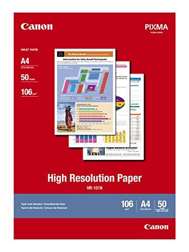 Canon HR-101N hochauflösendes Papier - DIN A4, 50 Blatt (106 g/qm) für Tintenstrahldrucker