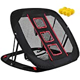 Pop Up Golf Chipping Net -Indoor/Outdoor Portable Golfing Red Training Equipment for Target Swing and Accuracy Practice with 6 Foam Training Balls