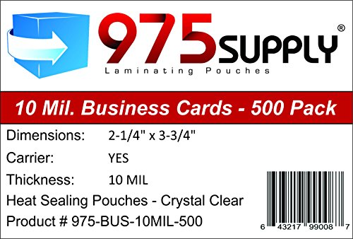 975 Supply 10 Mil Business Card Laminating Pouches, 2.25 x 3.75 inches, 500 Pouches