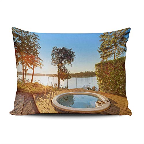 DKISEE Home Decoration Pillowcases Cushion Cover Waterfront House Jacuzzi Back Yard And Perfect Water Sunset Throw Pillow Case Chic Design 16x24 Inches