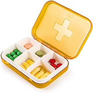 XZHMYYH Medicine box Small portable kit six grid square plastic watertight Drugs Packaging (Color : Orange)