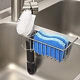 2-in-1 Kitchen Sink Caddy Sponge Holder + Brush Holder, Small In-sink...