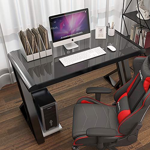 Nileco Komputer biurko szklany blat i metalowa rama, ergonomiczne biurko na stół do gier, biurko dla graczy w kształcie litery Z, styl wyścigowy dom biuro pisanie biurko gracz stacja robocza