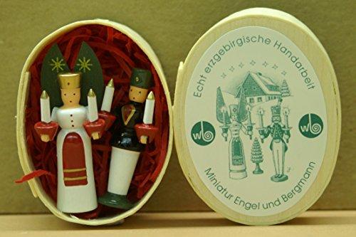 Miniatur, Engel und Bergmann 4 cm Seiffen Erzgebirge NEU