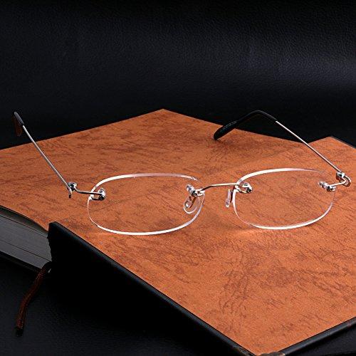 sayletre Blaulichtschutzbrille Vinatge Retro +1.0 +1.5 +2.0 +2.5 +3.0 +3.5 +4.0 Blaulichtfilterbrille Randlose Lesebrille für Computertelefone für Damen Herren