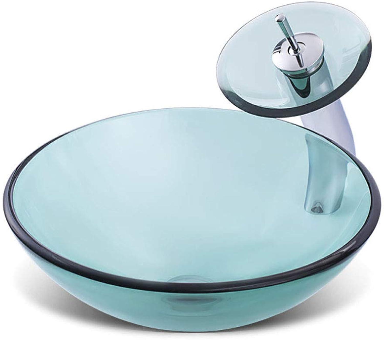 WEH Waschbecken Mit Wasserhahn Gehrtetem Glas über Aufsatzbecken Klar Art Kreative Waschbecken Für Hotel Familie Badezimmer A