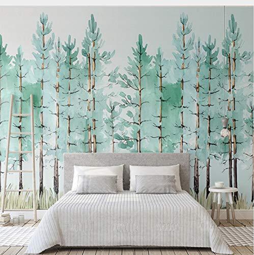 Lifme Benutzerdefinierte Wandbild Moderne Mode Mintgrün Frische Wald Vlies 3D Tapete Schlafzimmer Wohnzimmer Home Hintergrund Dekoration Fresko-120X100Cm