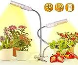 CanKunKeMao light Luz De Crecimiento LED De 2Cabezales,100 Luces De Cultivo De Plantas LED 10 Niveles Regulables,360°Cuello De Cisne Ajustable Lámpara De Crecimiento Vegetal Luz De50w