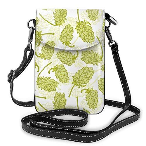 Lawenp Monedero de cuero para teléfono, bolso bandolera pequeño con lúpulo de cerveza, mini bolso para teléfono celular, bolso de hombro para mujer